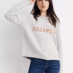 Madewell Dreamer Embroidered Keaton Sweater Grey